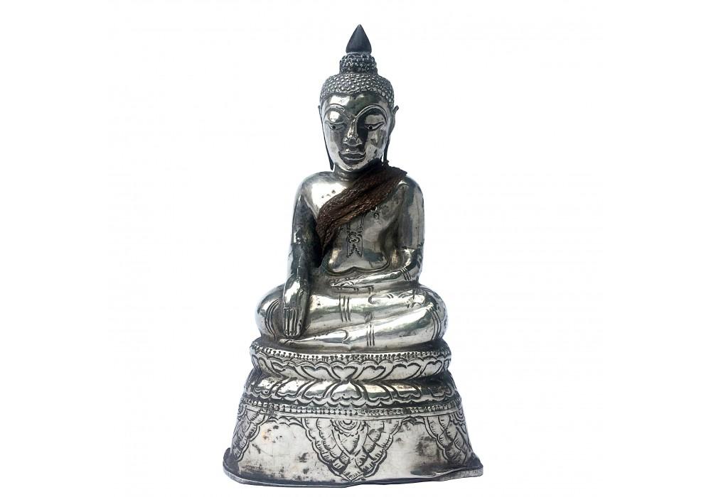 Thai miniature silver seated Buddha image