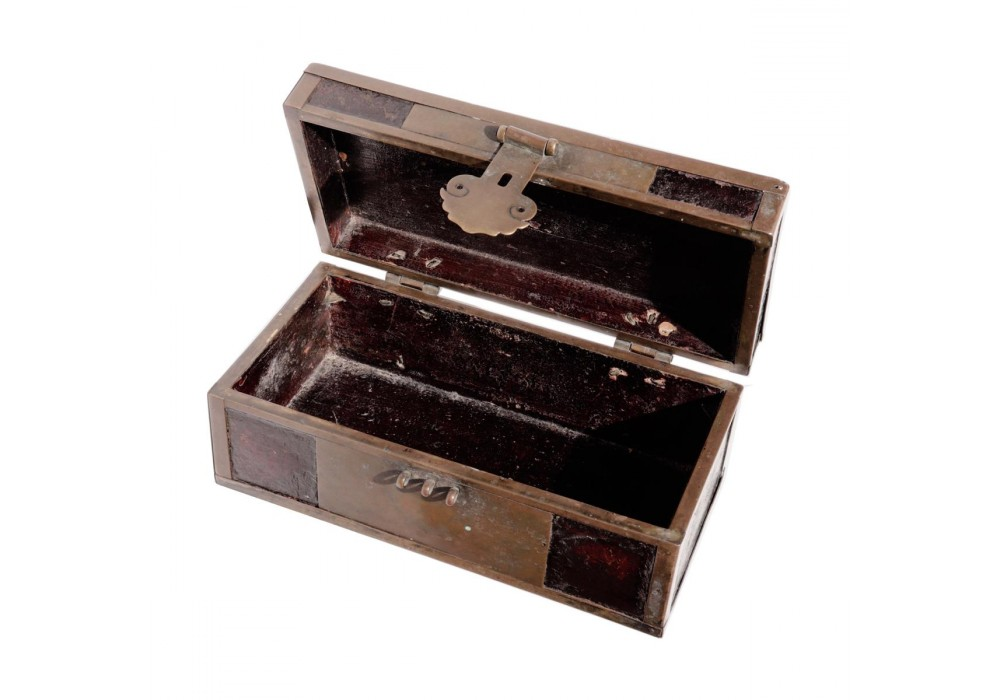 Antique Chinese brass and lacquered wood small document box