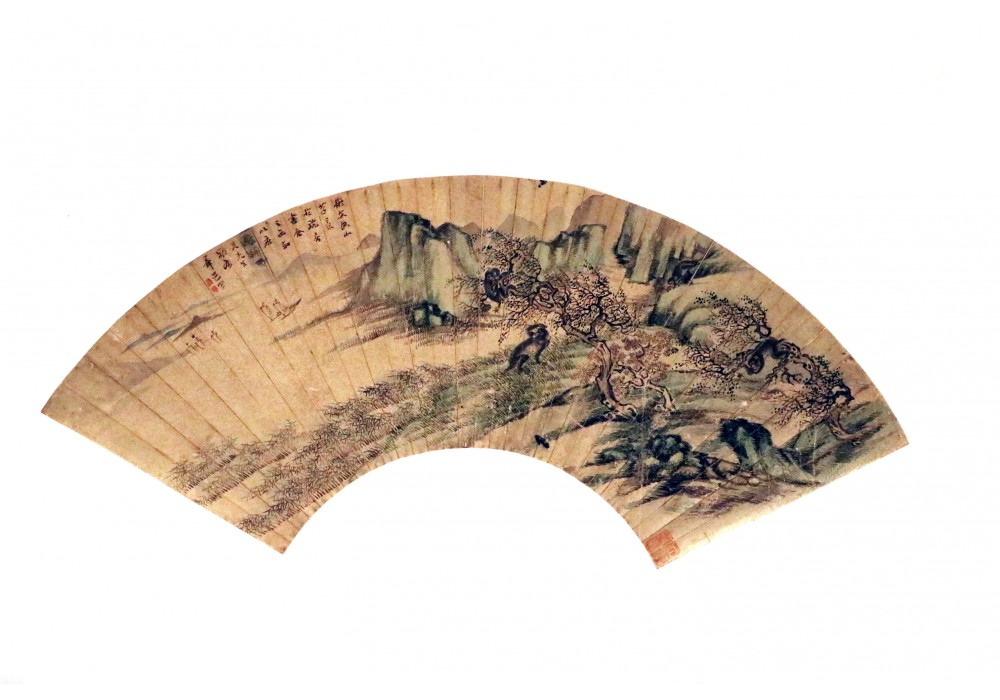 Chinese hand painted landscape with monkey on golden-painted paper fan panel