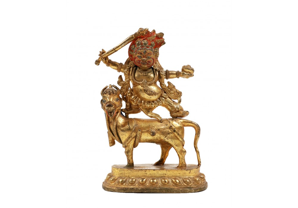 Tibetan gilt-bronze figure of Sri Devi riding a mule