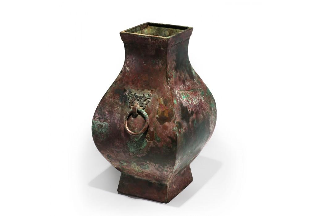 Han Dynasty Ritual Bronze Vase Fang Hu