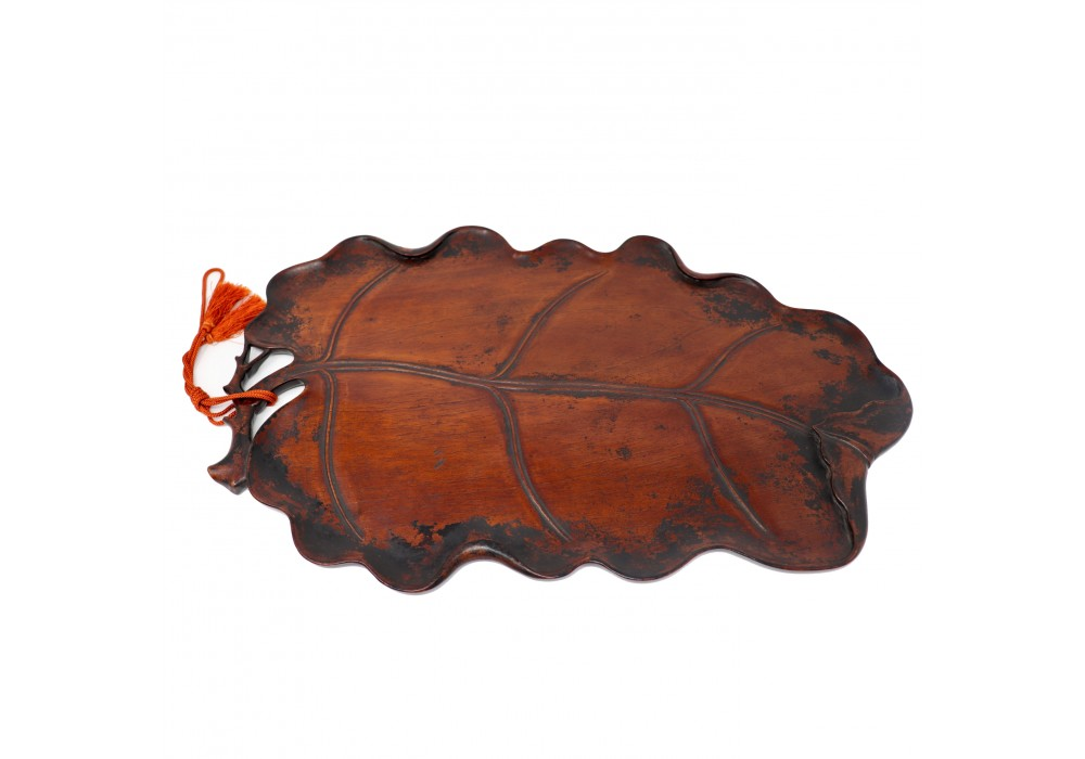 Japanese carved-wood large leaf tray