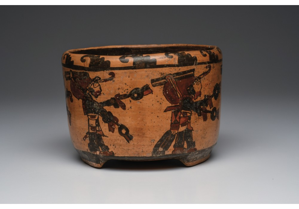 Maya Polychrome Decorated Bowl with Dancers