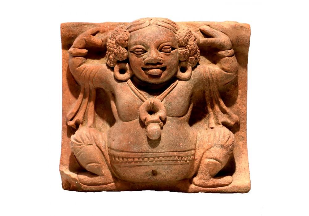 Gupta terracotta Tile depicting a minor Deity (Gandharva?)