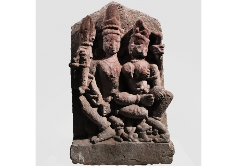 Indian sandstone relief of Shiva and Parvati