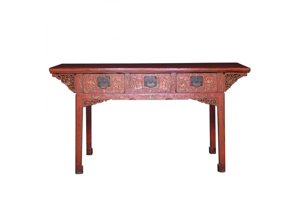 Antique Chinese Red Lacquered Painting Table