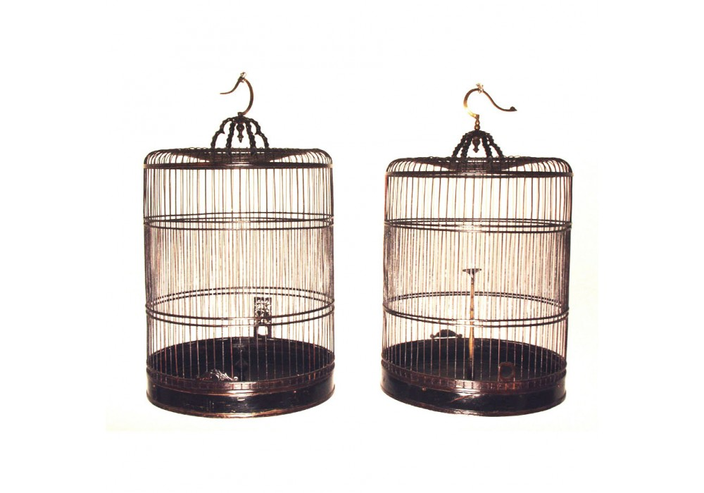 A Chinese pair of extendable Bird Cages