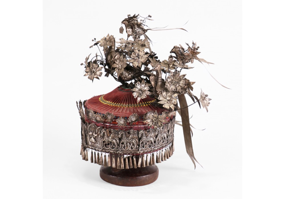 A Miao Ceremonial Hat with applied silverwork