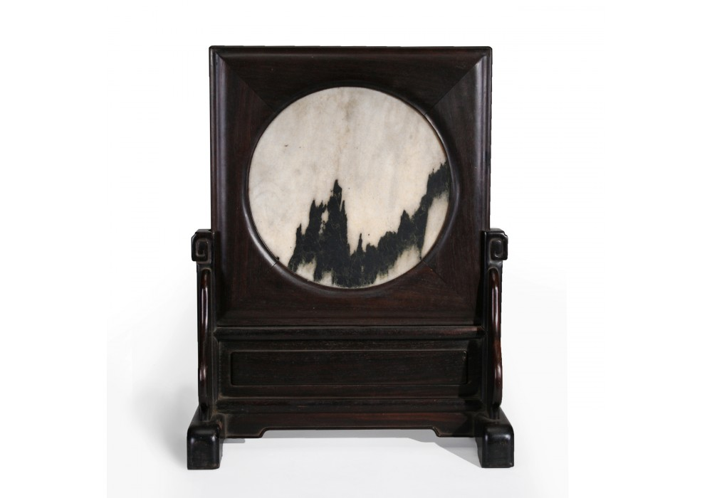 Table Screen in 'zitan' wood holding a marble Dream Stone