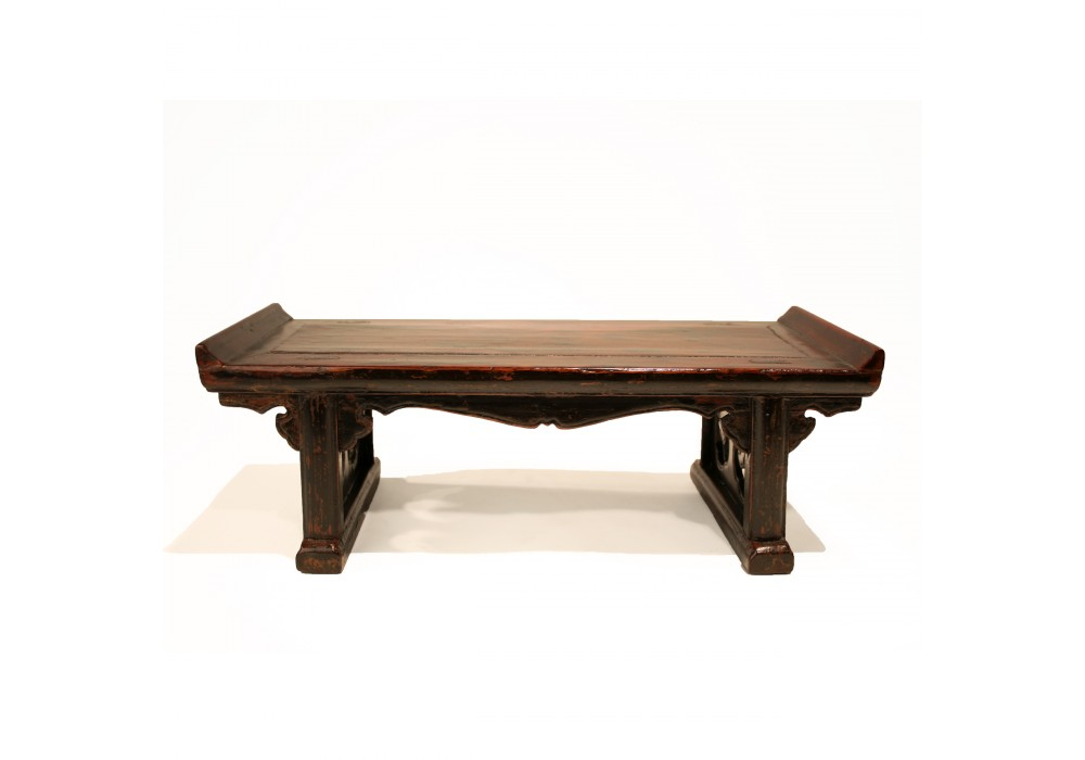 A scale model Altar Table in burgundy lacquer