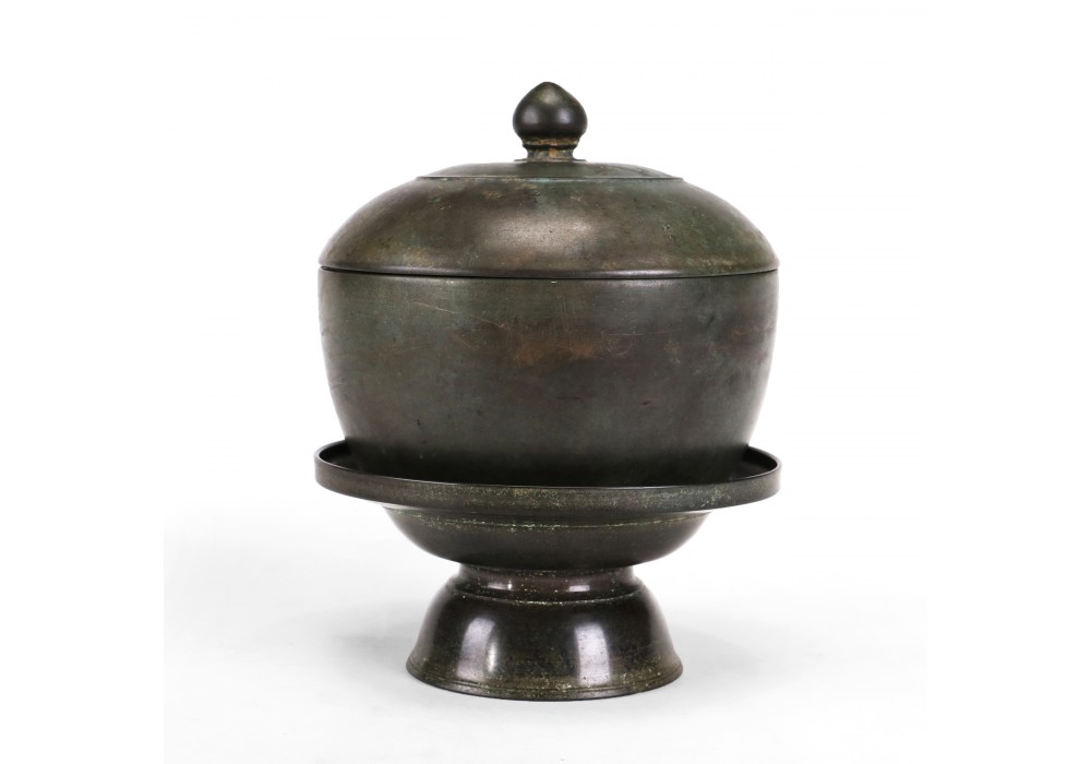 A Khmer bronze lidded Box with lotus knob, on a separate tray