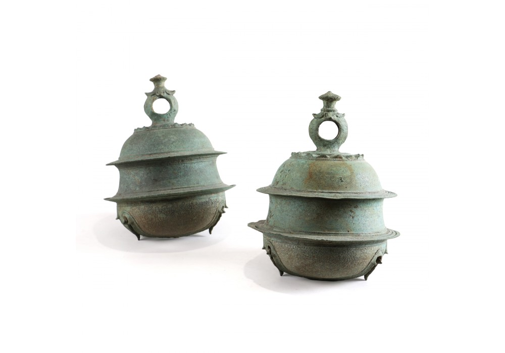 Pair of bronze Bells - Khmer