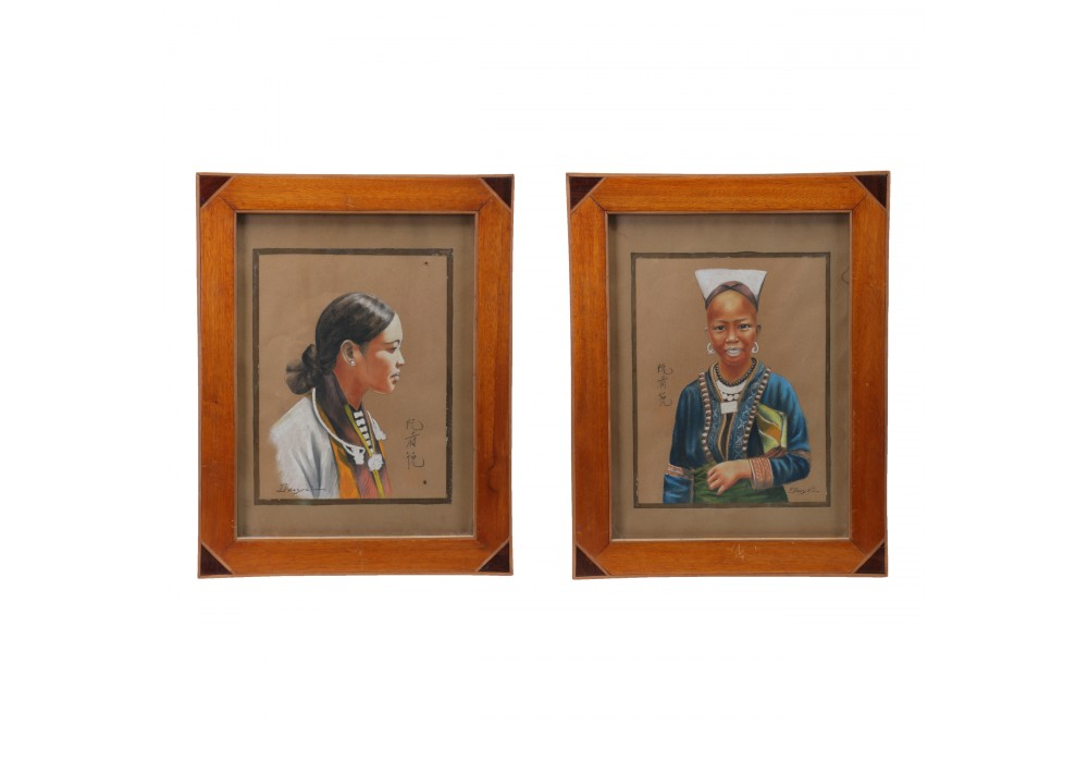 Pair of framed Pastel Drawings by DUYEZ