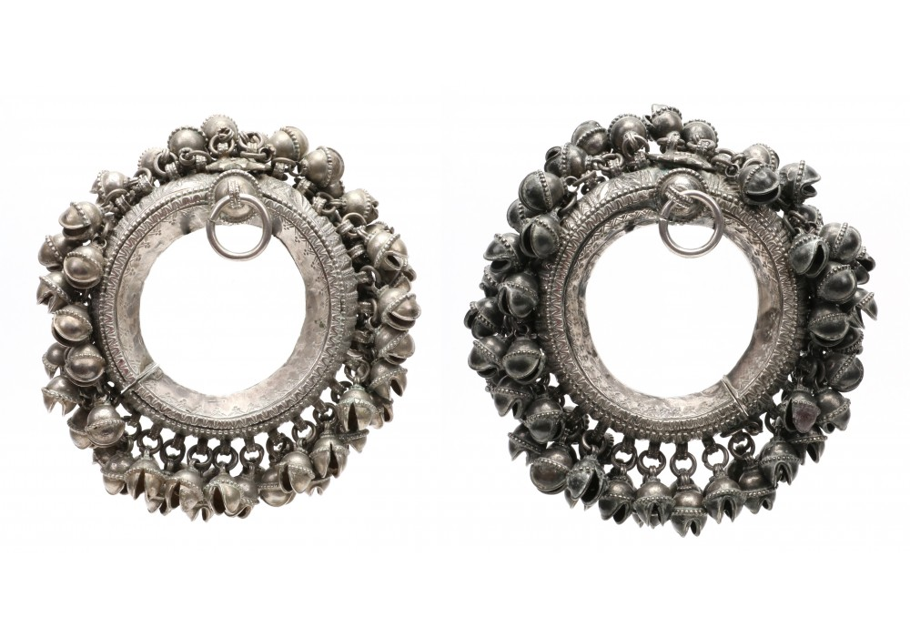 Pair of silver anklet with bells, Yemen