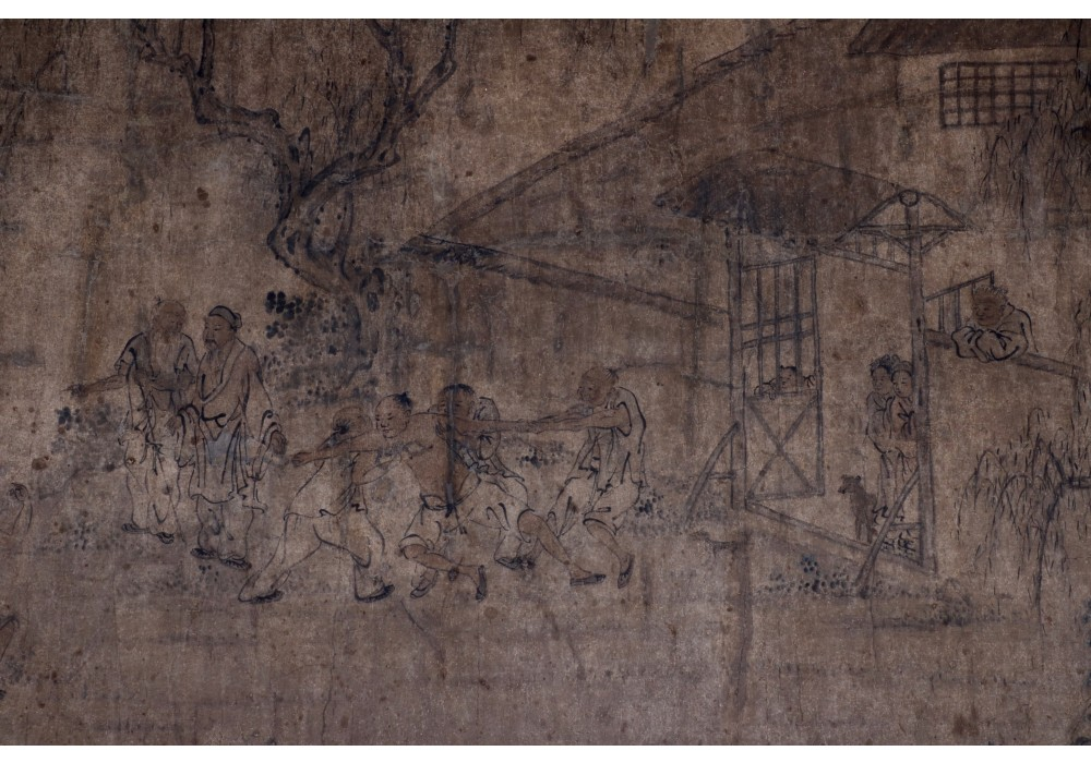 Qing dynasty painting scene, Ink on paper