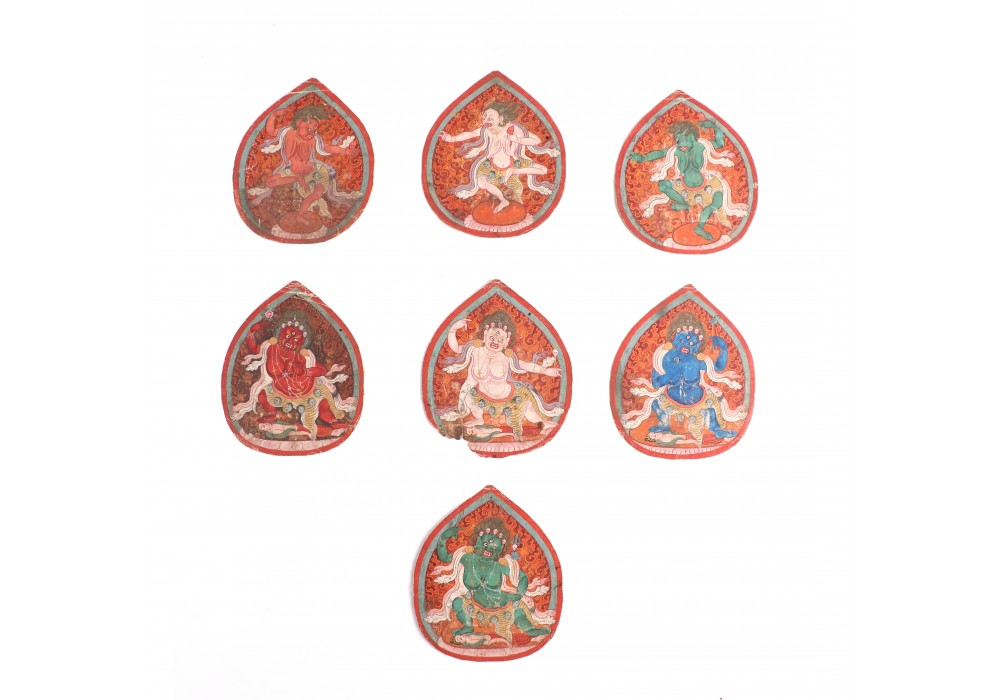 Lot of seven Tibetan tsakli