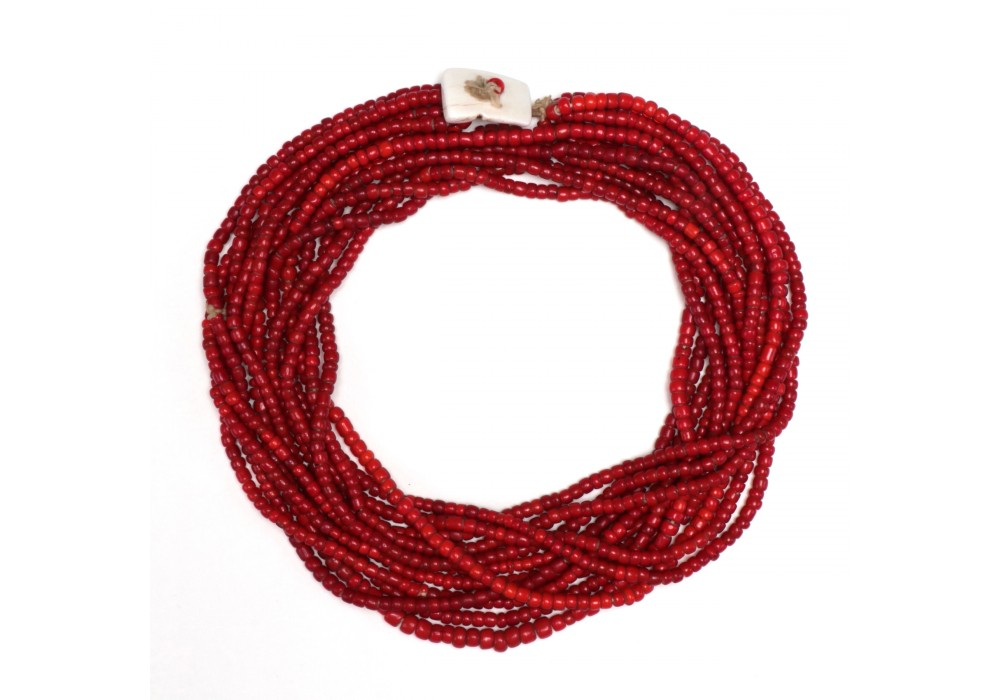 Multi strand Naga Necklace in opaque red glass Beads