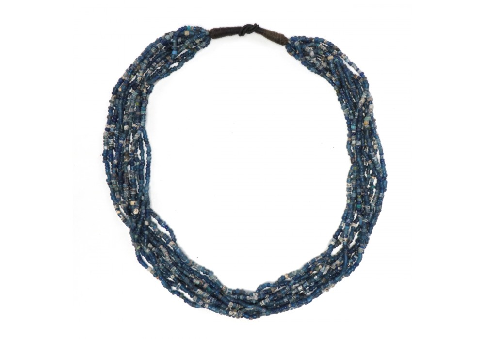 Multi strand Dogon Necklace in opaque blue glass Beads