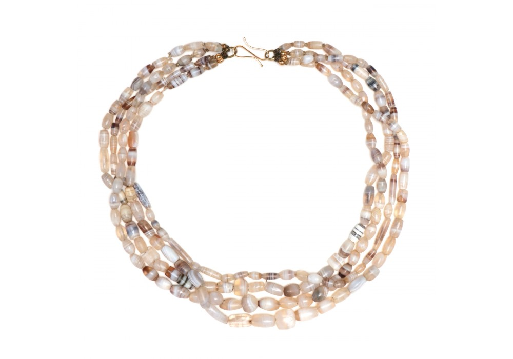 Multi strand Bactrian Necklace in white banded agate Beads