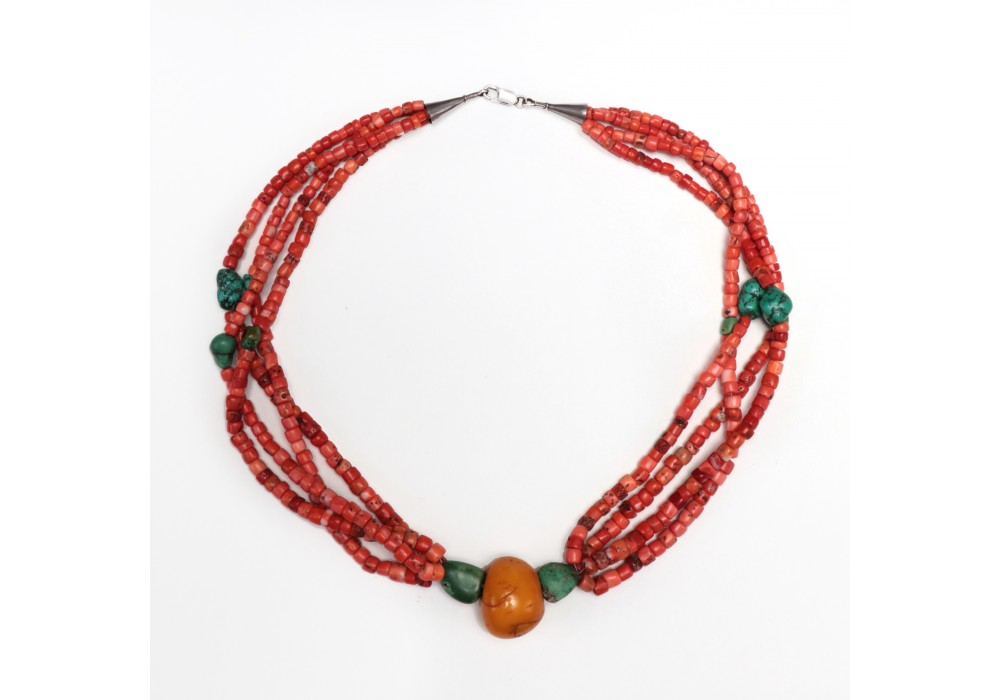 Tibetan multi strand coral and turquoise necklace