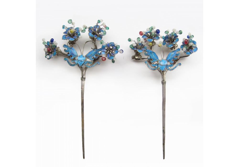 A pair of Chinese Kingfisher Feather Hairpins