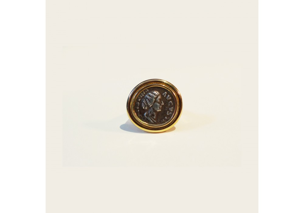 Silver denarius mounting on gold ring