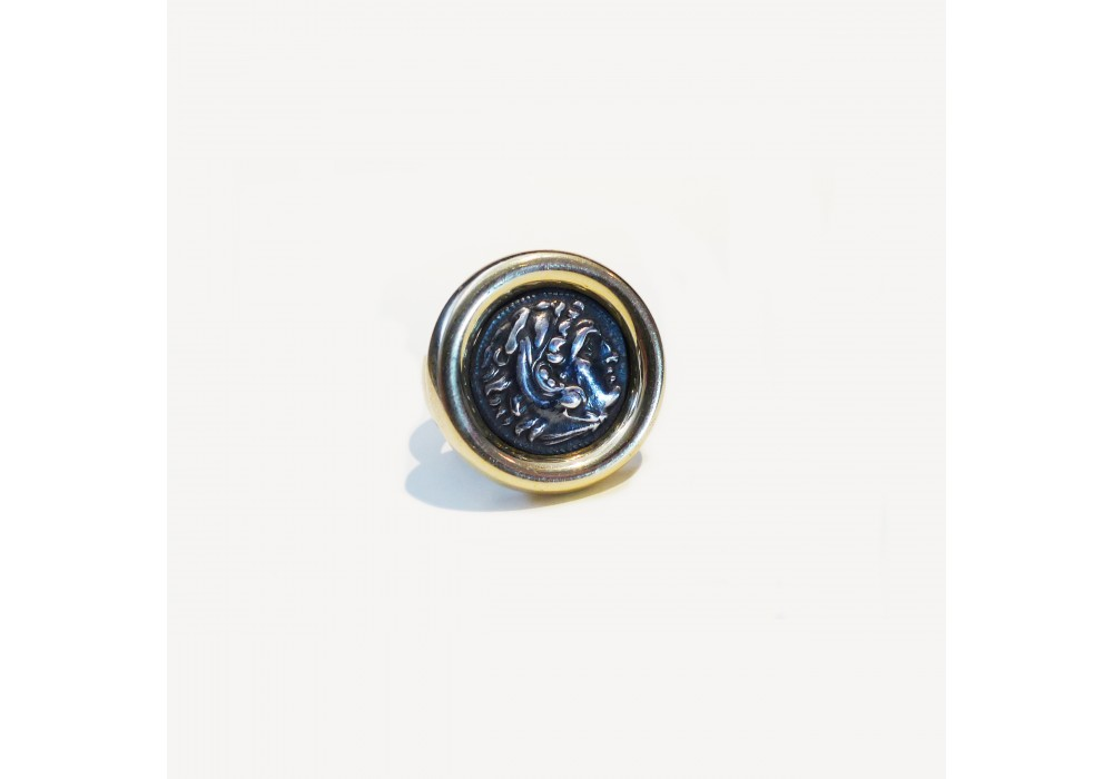 Antique drahma mounting on gold ring