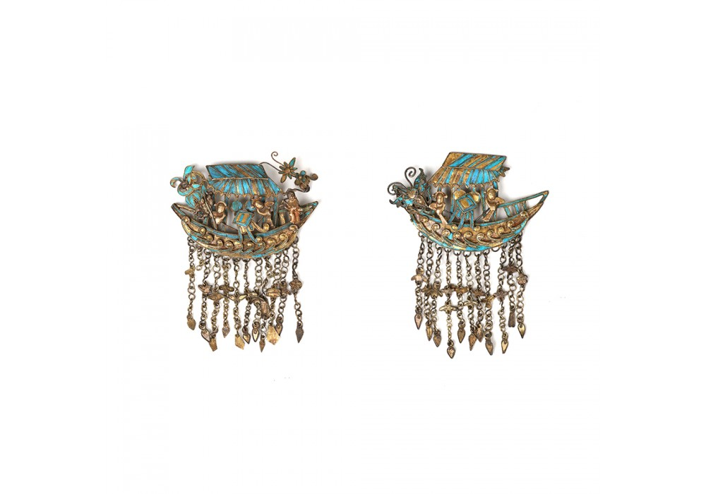Pair of Chinese kingfisher feathers ornaments