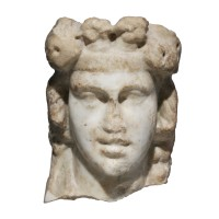 Roman marble Head of a Dionysos Herm