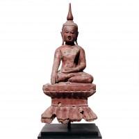 Burmese Lacquered Wood Buddha Image