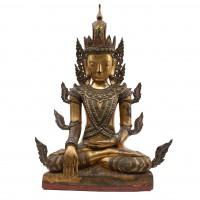 Large gilt wood Jambupati Buddha