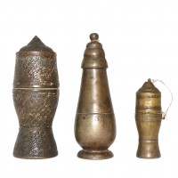 Set-of-three Thai bronze lime storage containers
