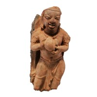 Gupta male Figure holding a pot in terracotta