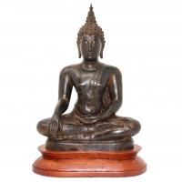 Antique Bronze Thai Figure of Maravijaya Buddha