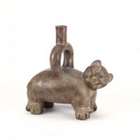 Chavin Tembladera stirrup Jar in shape of a feline