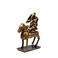 Indian bronze group of Shiva and Parvati on a horse