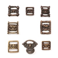 Lot of 8 Tibetan Sutra Clasps in bronze