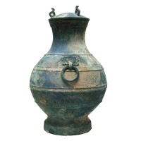 Chinese bronze and silver 'Hu' Vessel