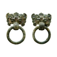 Chinese pair of bronze 'Taotie' Handles