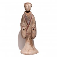 Chinese Painted Grey Earthenware Standing Female Tomb Figure