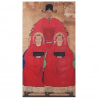 Chinese Ancestral Portrait of a Mandarin and two Concubines