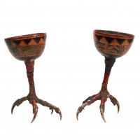 Pair of lacquered Cups on chicken feet from the Yunnan province