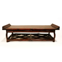Scale model altar table with footrest in bamboo