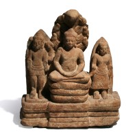 A Khmer Buddhist Triad in sandstone