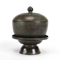 Khmer bronze lidded Box with lotus knob on a separate tray