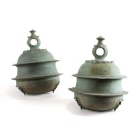Pair of bronze Bells - Khmer