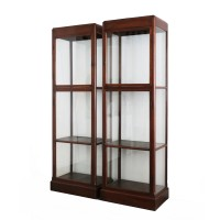 Pair of Thai colonial Glass Cases in teak wood