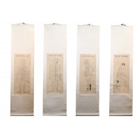 Lot of 4 Chinese acupuncture body charts