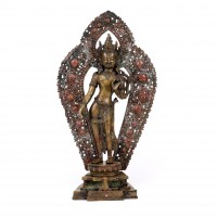 Nepalese Padmapani brass figure with halo