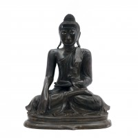 Burmese bronze seated buddha